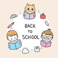 de volta às crianças da escola e livro de leitura do gato vetor
