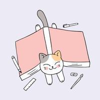 de volta à escola gato e livro vetor