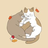 os pais abraçam o gato bebê