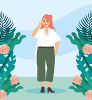 Jovem mulher com cabelo vermelho lá fora com plantas e flores vetor