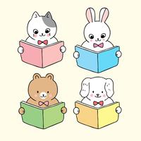 de volta aos animais da escola lendo livro