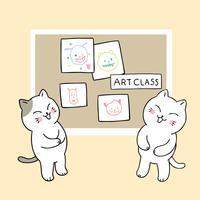 de volta aos gatos da escola engraçados na aula de arte vetor
