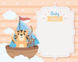 Cartão de chuveiro de bebê com tigre no barco vetor