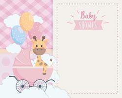 Cartão de chuveiro de bebê com girafa na carruagem vetor