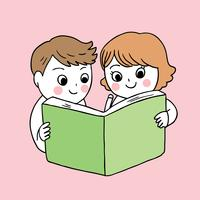 volta para escola menino e menina lendo livro vetor