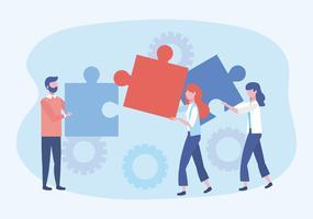 Empresárias e empresário segurando as peças do puzzle