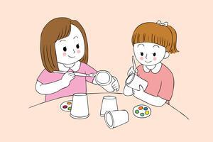 meninas estudantes pintando vidro de papel vetor