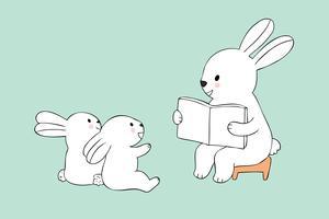 professor coelho e alunos coelhos lendo um livro