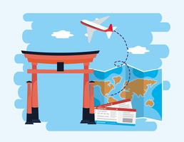 Escultura de Tóquio com mapa e bilhetes vetor