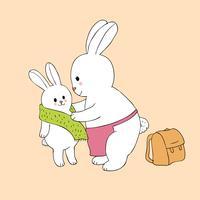 mãe e bebê coelhos vestindo ir para a escola