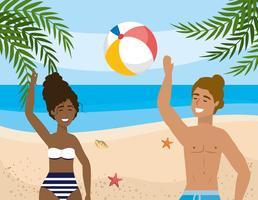 Mulher e homem brincando com bola de praia na areia vetor