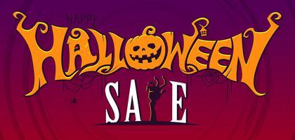 Banner de texto de venda de Halloween vetor