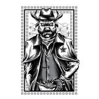 ilustração preto e branco animal dos ganhos camiseta
