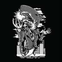 Projeto preto e branco do tshirt da ilustração do tubarão