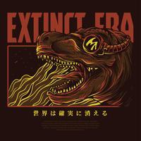 design de camiseta de ilustração vetorial de dinossauro
