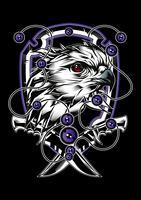 águia cabeça, escudo e faca ilustração vetorial
