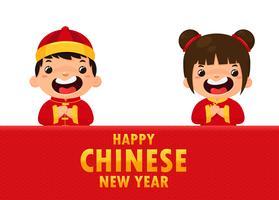 Crianças chinesas vestindo trajes nacionais Saudando para o festival do ano novo chinês. vetor