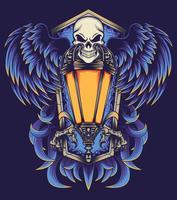 ilustração de cartaz de crânio voador