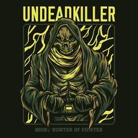 ilustração do assassino dos mortos-vivos camiseta