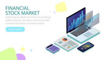 Conceito isométrico do mercado de ações financeiras vetor