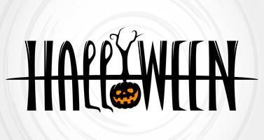 Banner de texto de Halloween em fundo branco vetor