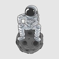 astronout ilustração vetorial tshirt design