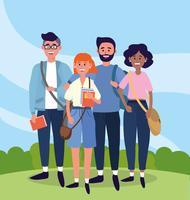 Estudantes universitários com livros e mochilas