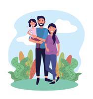 Casal feliz com filha vetor
