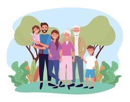 Família bonita com avós e crianças