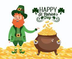 St Patrick homem com moedas de ouro dentro de caldeirão