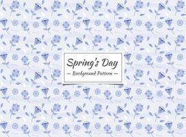 Primavera floral azul padrão sem emenda