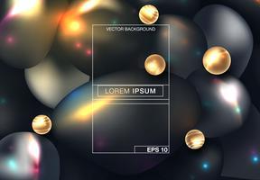 Esferas 3D pretas abstraem base