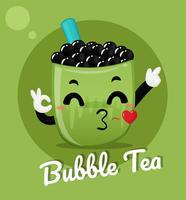 Chá verde com leite bolha vetor