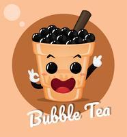 Chá com leite com bolha de leite vetor
