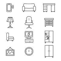 Conjunto de ícones de mobília plana para o escritório vetor