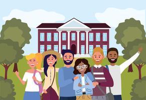 Estudantes universitários em frente à universidade prontos para aprender vetor