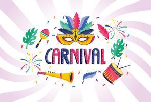 Cartaz de carnaval com instrumentos musicais e máscara