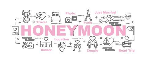 banner de lua de mel com ícones de arte linha vetor