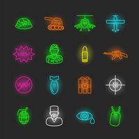 conjunto de ícones de néon de guerra vetor