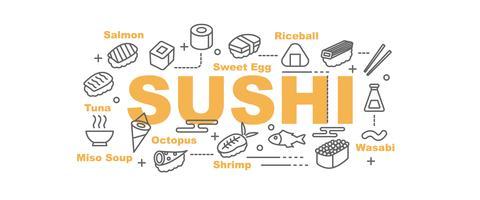 banner de sushi com ícones de arte linha