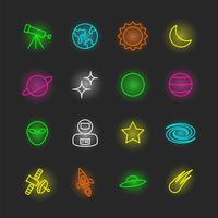 conjunto de ícones do espaço neon