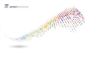 Onda de padrão de pontos de meio-tom colorido abstrato isolada no fundo branco vetor