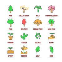 ícones de linha do vetor de árvore com cores planas