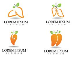 Símbolos e logotipo de frutas manga vetor