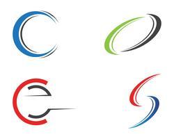 Conjunto de design de letra C vetor