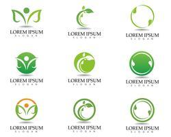 Design de logotipo de vetor de folha árvore, conceito ecológico.