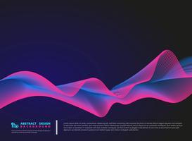 Linhas onduladas de cor abstrata em fundo azul escuro vetor