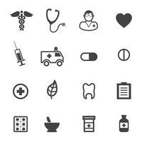 farmácia e ícones médicos vetor