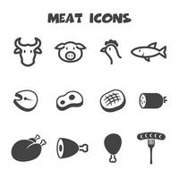 símbolo de ícones de carne vetor