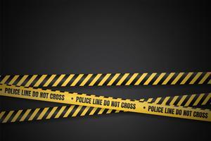 Linha de polícia amarela e preta para aviso de áreas perigosas vetor